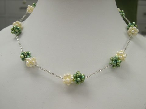 Unique 16'' 1row little white_green pearl ball Necklace