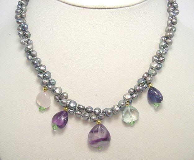 Unique 2rows SILVER-GREY Cultured Pearl & FLUORITE Necklace