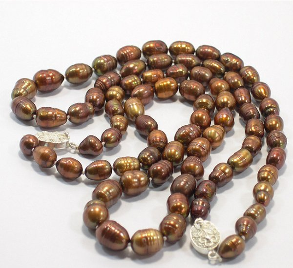WHOLESALE 10PCS 8-11MM COFFEE CULTURED PEARL NECKLACES