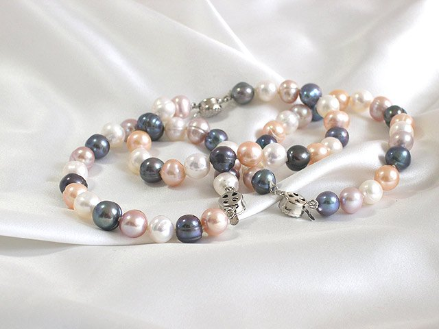 WHOLESALE 3-PCS 7.5'' 8-9MM MULTICOLOR PEARL BRACELETS