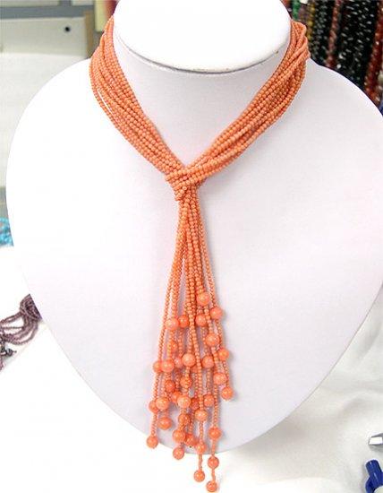Wholesale 40'' 6-PCS nacarat coral Necklaces