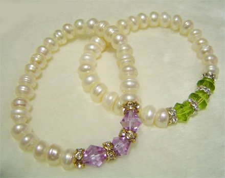 Wholesale 2-PCS Genuine Cultured Pearl & crystal Bracelets