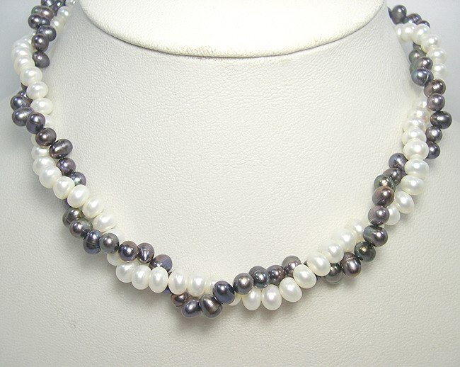 Wholesale 2rows Genuine Cultured Pearl Necklace 925S
