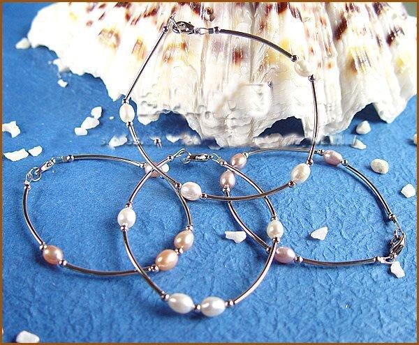 Wholesale 4 pcs single stand cultured pear bracelet