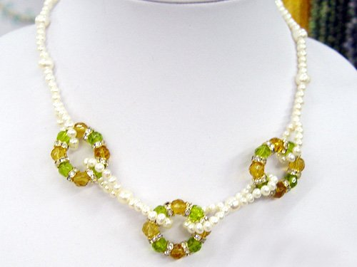 charm white cultured Pearl&Gems Necklace 925s