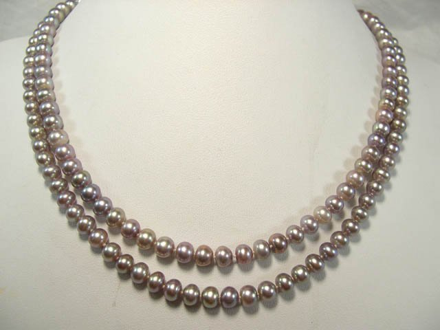charming lavender 2rows FW Cultured Pearl Necklace