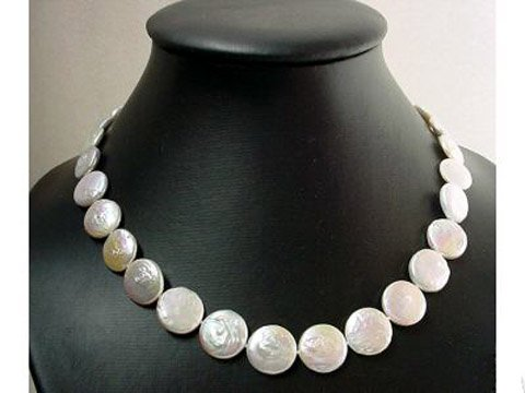 elegance 17'' single stand coin cultured pearl necklace