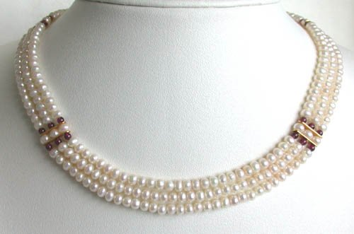 elegant 16'' 3rows white cultured pearls necklace
