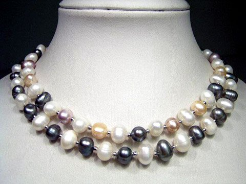 excelent 16-18'' 2row multi-color cultured pearl necklace