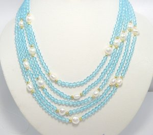 flowery 5rows Cultured Pearl & crystal Necklace 925S
