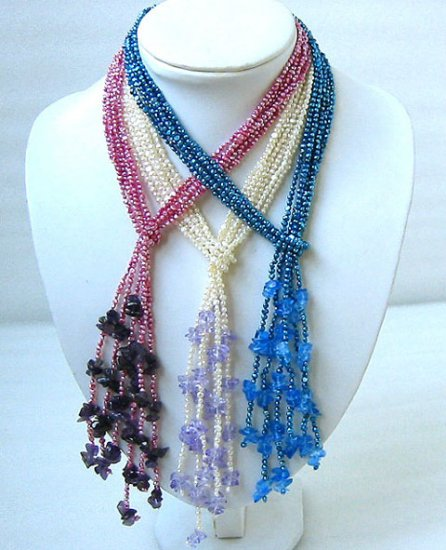 wholesale 42'' 3 sets 3-4mm cultured pearl & crystal necklaces