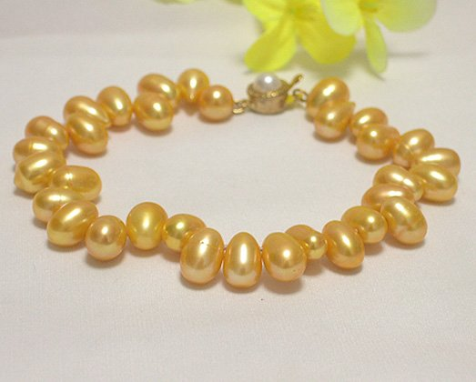 single 7-10mm yellow cultured pearl bracelet
