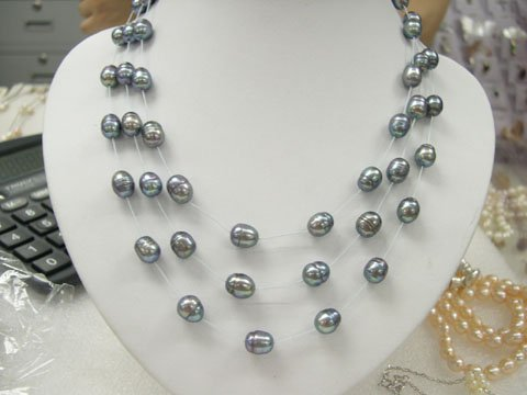 stylish 17-19'' 3rows Grey cultured pearl white silk Necklace