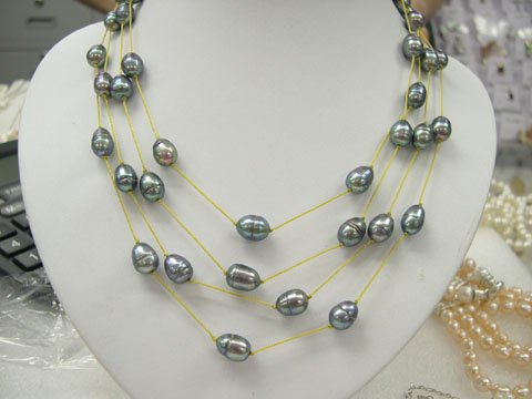stylish 17-19'' 3rows Grey cultured pearl yellow silk Necklace