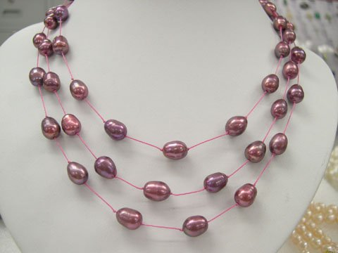 stylish 17-19'' 3rows red cultured pearl silk Necklace