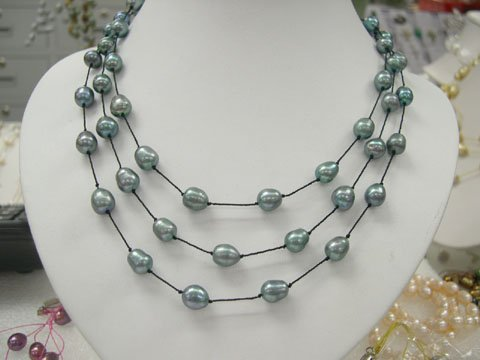 stylish 17-19'' 3rows green cultured pearl silk Necklace
