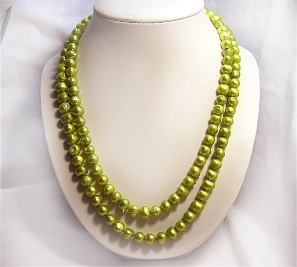 stylish 20-22'' Gold Green Cultured Pearl Necklace 925S
