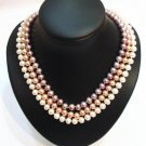 superb 3row 3 color genuine cultured pearl necklace 925