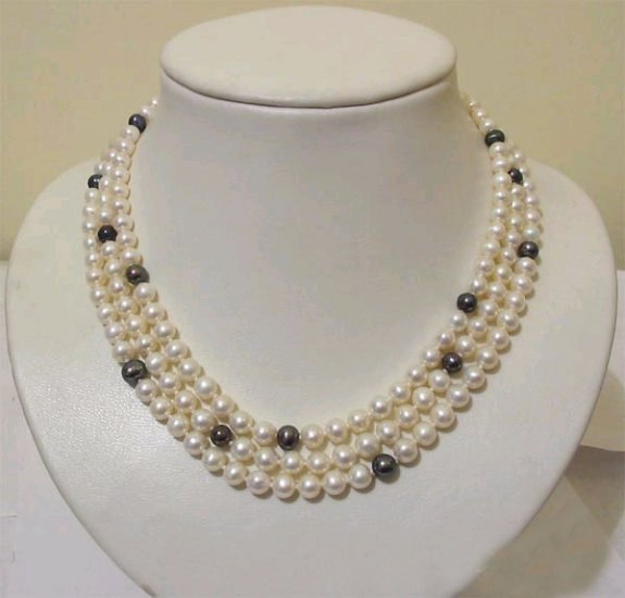 unique 3rows White Black Cultured Pearl Necklace