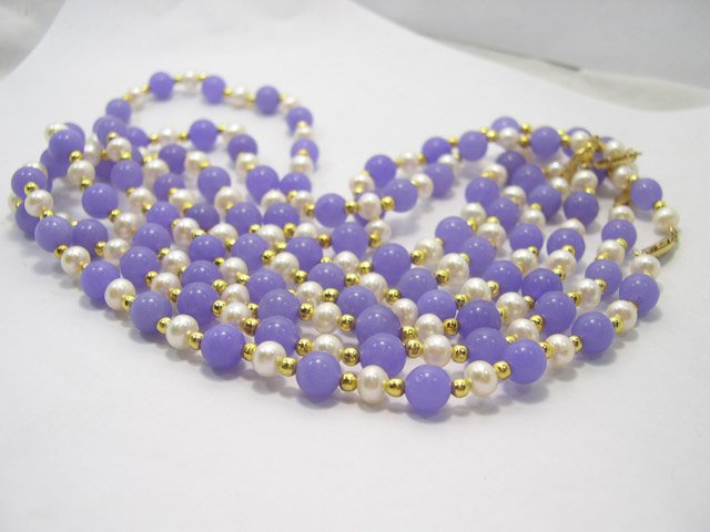 wholesale 4 pcs HIGH LUSTRE Cultured & Jade Pearl Necklace