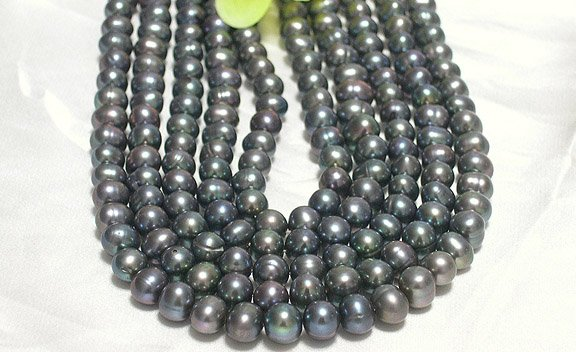 wholesale 5-pcs black loose pearls strands
