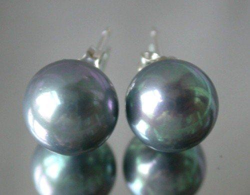 Beauty 12mm black Seashell pearl silver stud earring