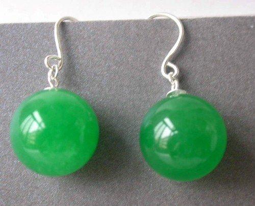 Beauty 12mm green round jade silver hook dangle earring