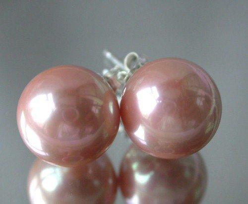 Beauty 12mm peach Seashell pearl silver stud earring