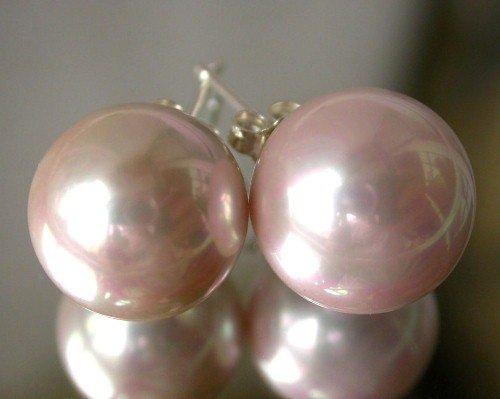 Beauty 12mm pink Seashell pearl silver stud earring