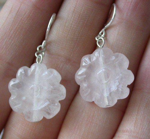 Beauty 15x15mm pink flower crystal earring silver hook