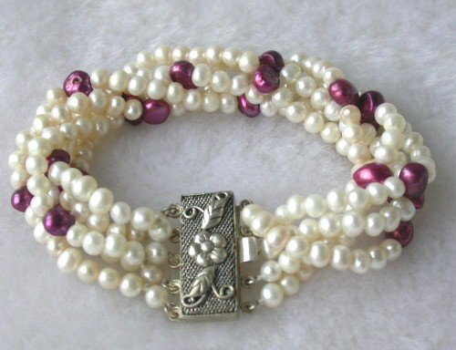 Beauty 7.5'' 5-rows 5-6mm white mauve pearl silver clasp