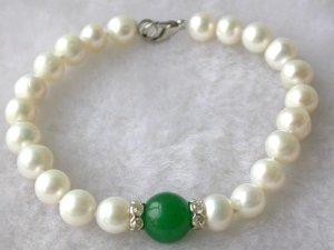 Beauty 7.5'' 7-8mm white pearl green jade bracelet