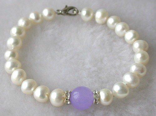 Beauty 7.5'' 7-8mm white pearl lavender jade bracelet