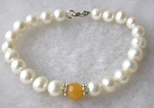 Beauty 7.5'' 7-8mm white pearl orange jade bracelet