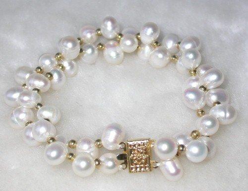 Beauty 7.5'' double 7-8mm white pearl bracelet
