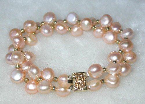 Beauty 7.5'' double 8-9mm pink pearl bracelet