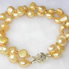 Beauty 7.5'' double 8-9mm yellow pearl bracelet-9K clasp
