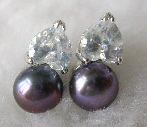 Beauty 8.5mm black FW pearl rhinestone earring