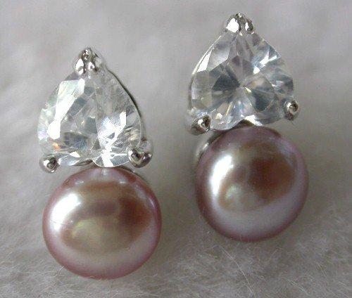 Beauty 8mm lavender FW pearl heart rhinestone earring