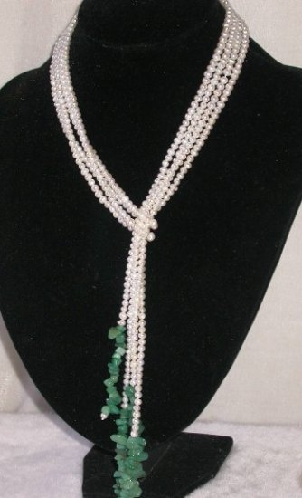 Charming! 50'' double white pearl green jade necklace