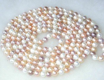 Charming! 54'' 5-6mm multi-color FW pearl necklace