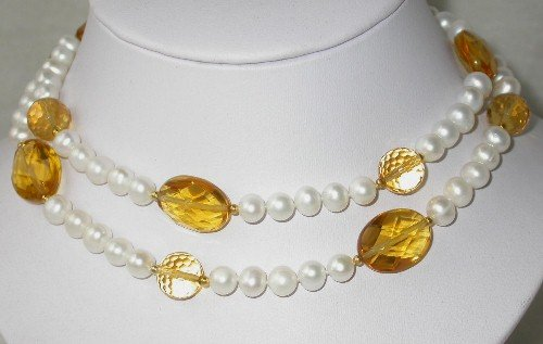 Elegant 31'' 7-8mm white pearl yellow crystal necklace