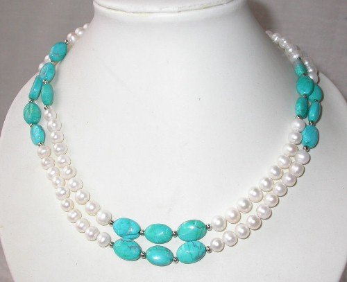 Elegant 34'' 7-8mm white pearl blue turquoise necklace