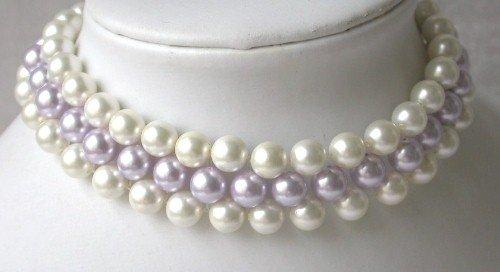 Elegant! 15'' 8mm white lavender seashell pearl choker