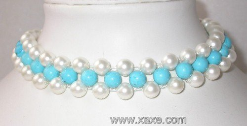 Elegant 15'' 8mm white shell pearl turquoise silver clasp