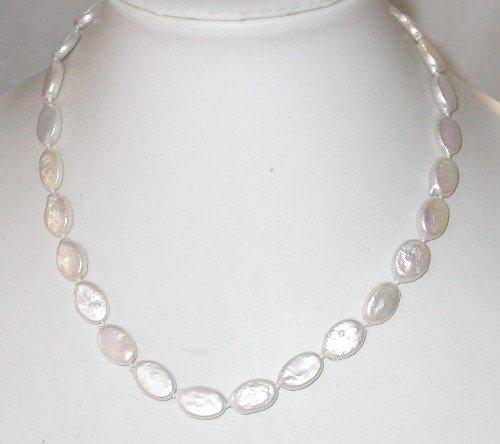 Genuine 17'' 14K clasp 10x12mm white biwa pearl necklace