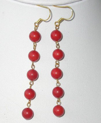 Gorgeous 8mm red round coral dangle earring