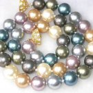 Graceful 17'' 10mm multi-color Seashell pearl necklace