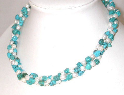 Graceful 17'' 3-rows white pearl blue turquoise necklace