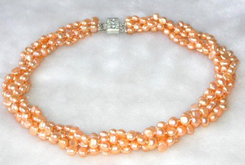 Graceful 17'' 4-rows 6-7mm orange pearl necklace